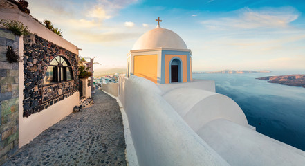 Beautiful morning panorama of Santorini island. Attractive spring scene of famous Greek resort Thira, Greece, Europe. Traveling concept background. Artistic style post processed photo.