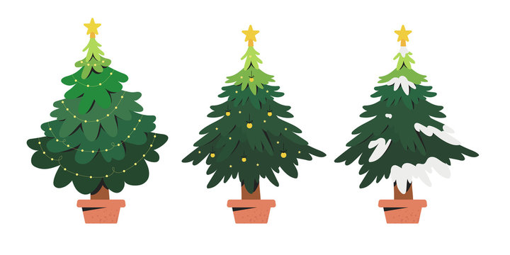 Vector illustration of a christmas tree in a pot decorated with a fairy lights and a star isolated on a white background that can be used as a decoration element in design templates.