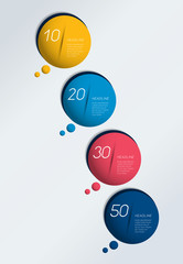 Four steps elements bubble chart, scheme, diagram. Infographic template.