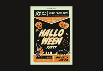 Retro Halloween Party Flyer