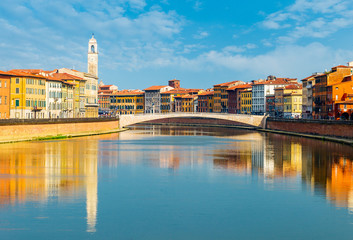 Wall Mural - Landscape with Pisa old town and Arno river, Tuscany, Italy
