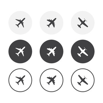 Set of 3 simple design airplane icons. Rounded background