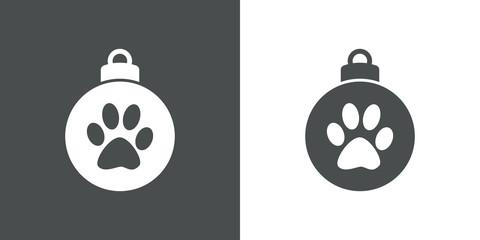 Icono plano bola de navidad con huella de gato en gris y blanco