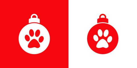 Icono plano bola de navidad con huella de gato en rojo y blanco