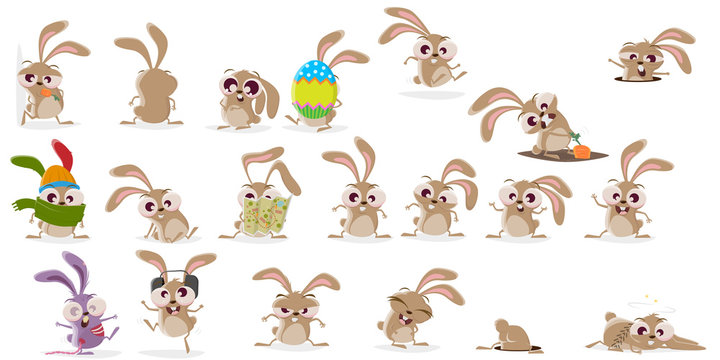 large cartoon collection of a crazy rabbit
