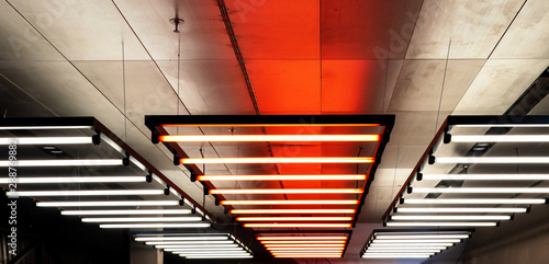 Ceiling With Hanging Down Neon S Lighting For Halls