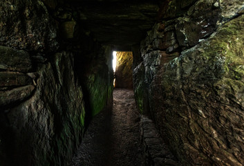 Bryn Celli Ddu neolithic burial chamber overlying a henge monument Isle of Anglesey North Wales. Interior shot