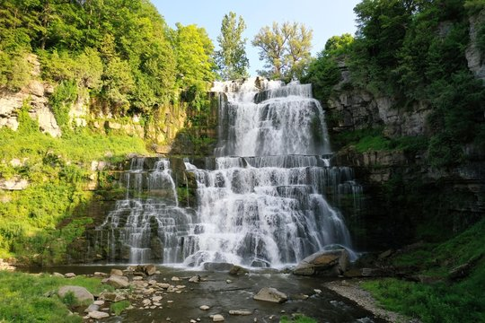 Beautiful Waterfall in Upstate New York State Park with Green Trees