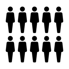 People icon vector male group of persons symbol avatar for business management team in flat color glyph pictogram illustration