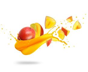 Fototapete - Sliced mango with splash of fresh juice, isolated on white background