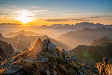 Wall Mural - Sonnenuntergang in den Alpen