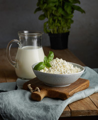 milk jug and bowl of cottage cheese