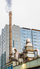 Fototapete - Smokestack on an Industrial Plant in Seattle