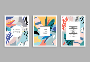 Abstract Poster Layouts with Illustrative Floral Elements