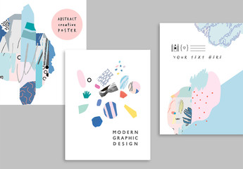 Creative Abstract Posters Layout Set