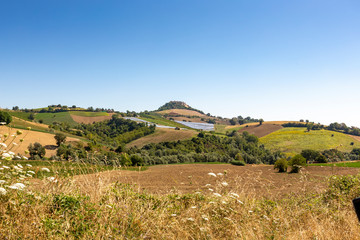 Solarcells on the hills of the village of Montedinove in Italy.