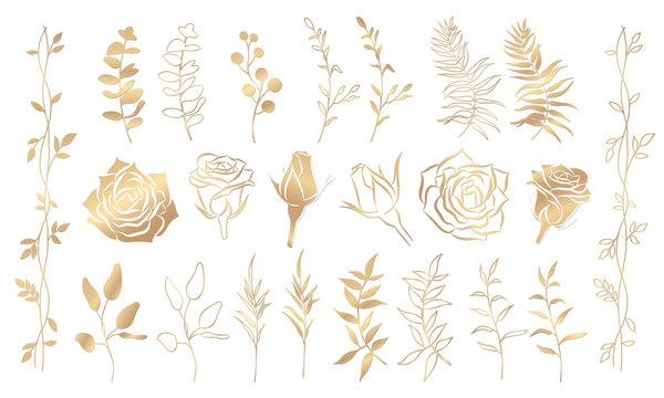 Gold floral set