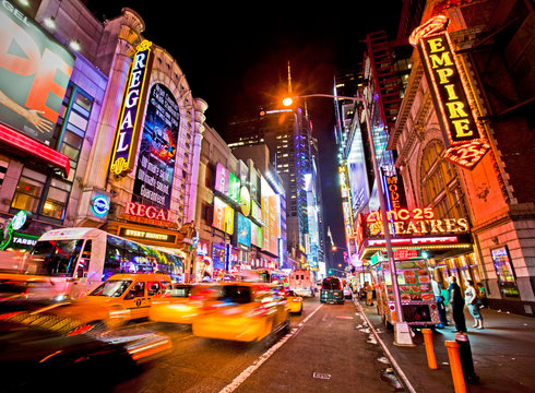 New York, USA; June 2014: Editorial capture of New York's famous 42nd Street and its theater district.