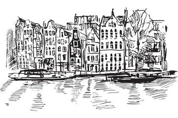 Fototapeta Rysynek ręcznie rysowany. Kanał w Amsterdamie