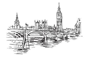 Rysynek ręcznie rysowany. Centrum Londyny z mostem i wieża Big Ben
