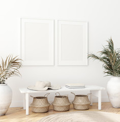 Mock up poster in Scandinavian interior with bench, baskets and palm branches in pots, 3d render