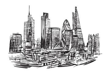 Rysynek ręcznie rysowany. Nowoczesna dzielnica Londynu