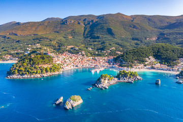 Panoramic view of scenic Parga city, Greece Wall mural