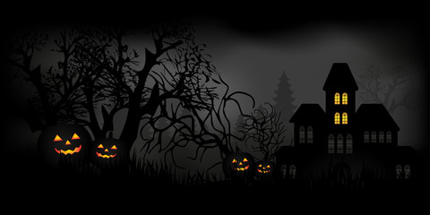 Halloween night with candles, pumpkins and haunted house in a mysterious forest