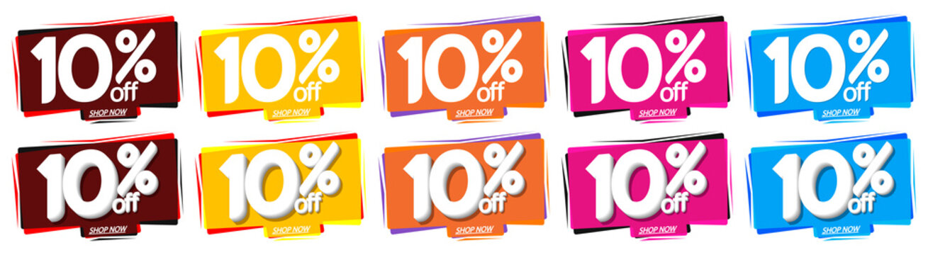 Set Sale bubble banners design template, discount 10% off tags, app icons, vector illustration