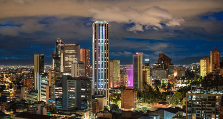 Bogota City Capital of Colombia Skyline Night Photography Pano