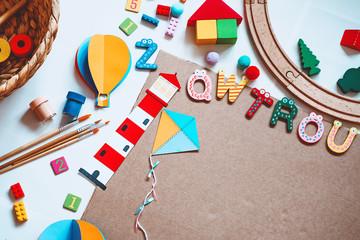 Obraz Kindergarten or preschool background. Art child frame with empty paper. - fototapety do salonu