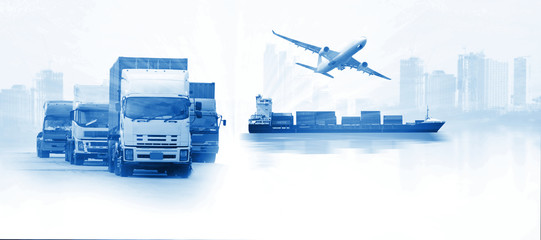 Abstract image of the logistics, there are container truck, ship in port and airplane