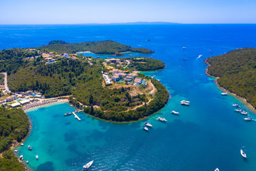 Aerial view of iconic paradise sandy beaches with turquoise sea in complex islands of Agios...