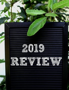 2019 Review concept - Isolated text on black background with colorful leaves