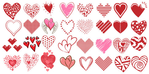 heart vector set clipart design