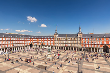 Madrid Spain, aerial view city skyline at Plaza Mayor