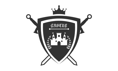 Knight medieval est 1975 logo. Vector illustration
