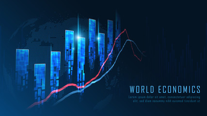 Stock market or forex trading graph concept