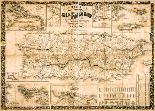 Antique topographical map of Puerto Rico 1863 while under Spanish rule