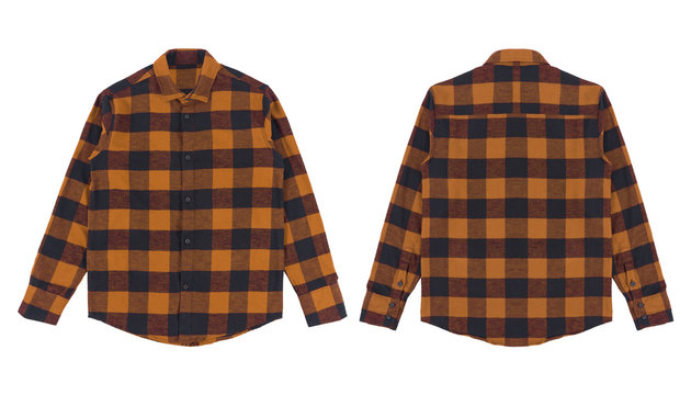 Flannel long sleeve shirt with a checkered pattern in black brown color, isolated on white background. Set of flannel shirt front and back view.