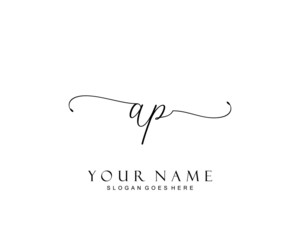 Initial AP beauty monogram and elegant logo design, handwriting logo of initial signature, wedding, fashion, floral and botanical with creative template.