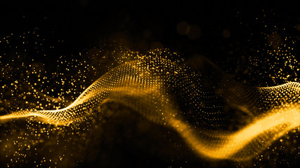 Gold color digital particles wave flow abstract technology background concept