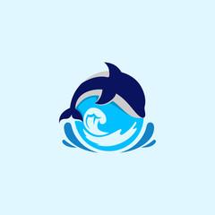 Dolphin Water Ocean Illustration Vector Logo