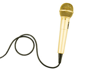 Gold microphone with cable on isolated white