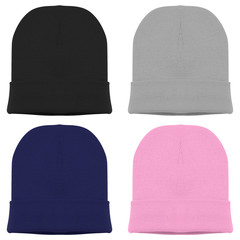 Set of beanie. Blank beanie in four different color black grey pink blue navy isolated in white background for mockup template