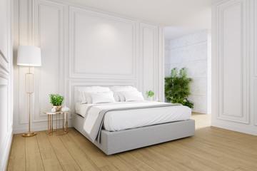 Fototapeta Master bedroom interior ,cozy space , modern classic design ,3d render obraz