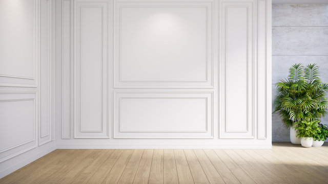 Empty room modern classic interior,no people ,white wall and wood floor,3d render