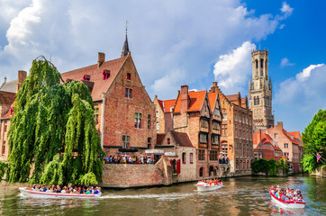 Canvas Prints Bridges Bruges, Belgium - Rozenhoedkaai and Belfry