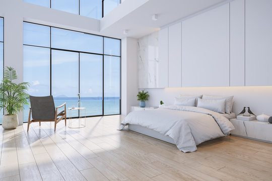 Bedroom and Modern style.with sea view ,bed with wood floor and white wall ,3d rendering