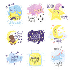 Set of cute pictures with the inscription Good night. Vector illustration on a white background.